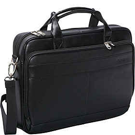 Leather Slim Laptop Brief Black