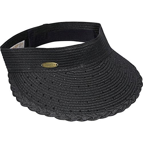 Cappelli Paper Braid Visor With Rhinestones - Black