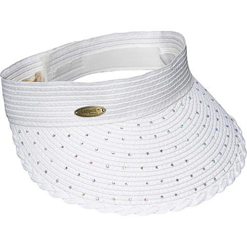 Cappelli Paper Braid Visor With Rhinestones White - Cappelli Hats