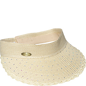 Paper Braid Visor With Rhinestones Natural