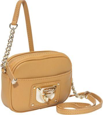 Calvin Klein Geo 2 Chain Strap Crossbody Camel Calvin Klein Leather Handbags