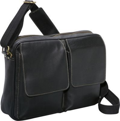 AmeriLeather Dual Flap Leather Messenger Black - AmeriLeather Messenger Bags