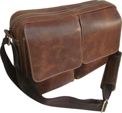 AmeriLeather Dual Flap Leather Messenger Brown - AmeriLeather Messenger Bags