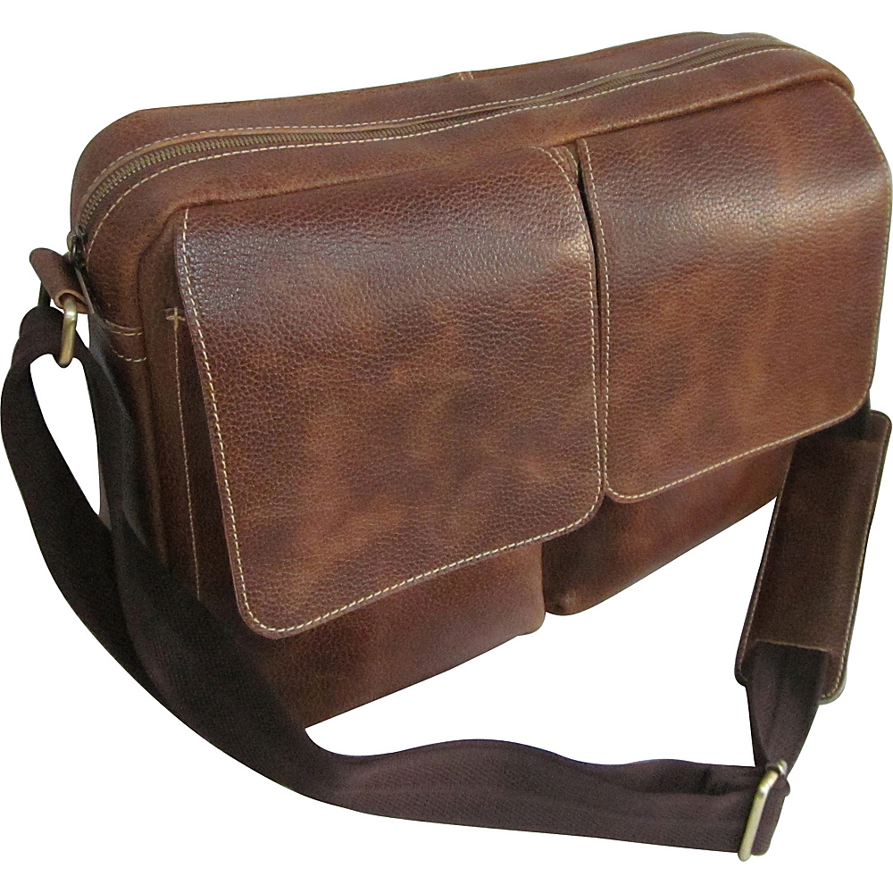 AmeriLeather Dual Flap Leather Messenger Brown - AmeriLeather Messenger Bags - Work Bags & Briefcases, Messenger Bags