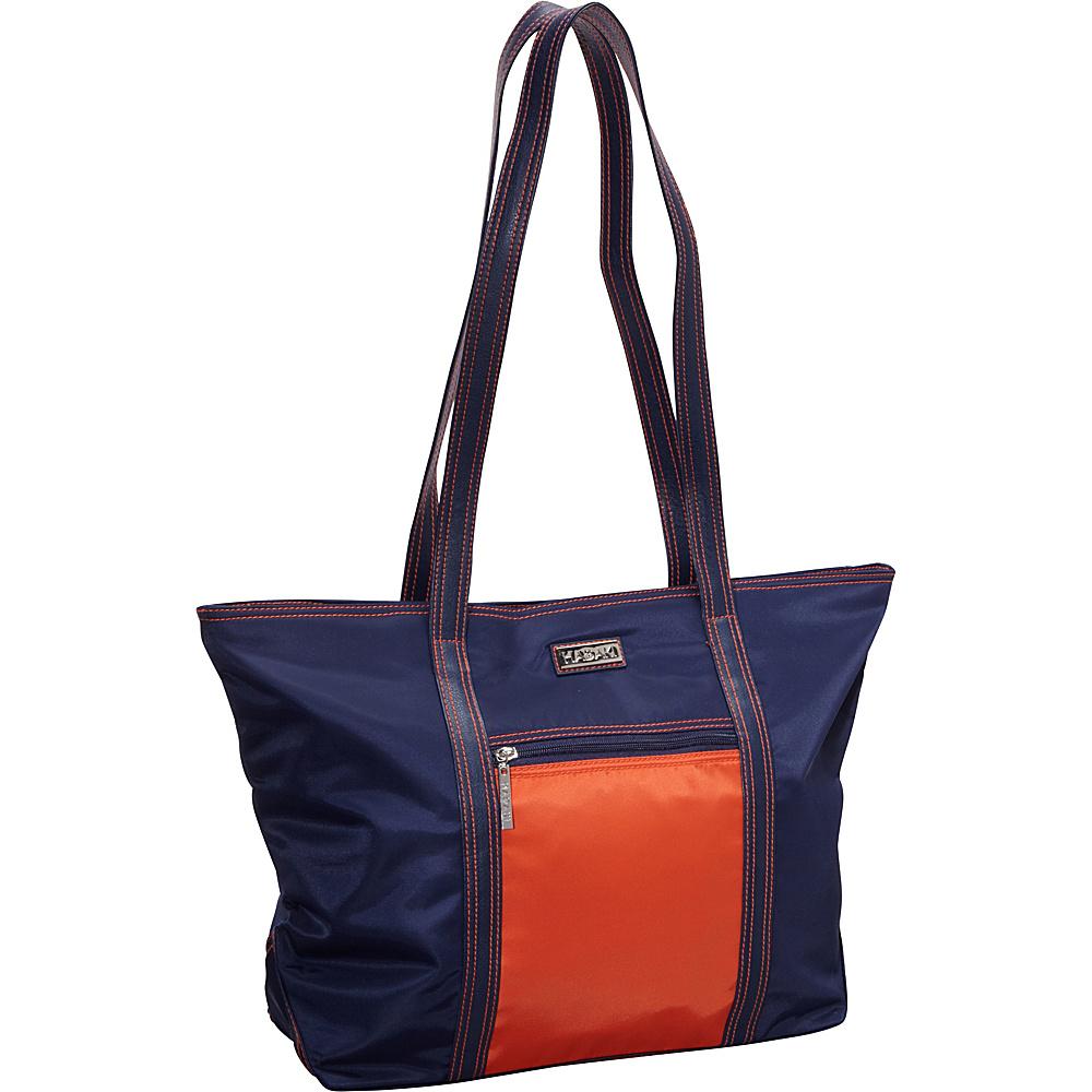 Hadaki Cosmopolitan Tote Navy/Orange - Hadaki Fabric Handbags - Handbags, Fabric Handbags