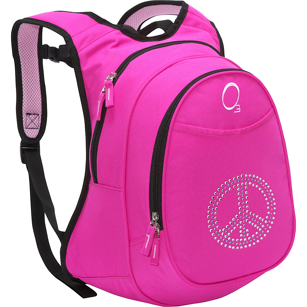Obersee Kids Pre-School Peace Backpack with Integrated Lunch Cooler Pink Bling Rhinestone Peace - Obersee Everyday Backpacks