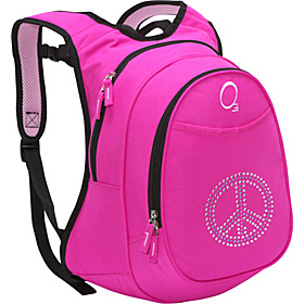 O3 Kids Pre-School Peace Backpack with Integrated Lunch Cooler Pink Bling Rhinestone Peace