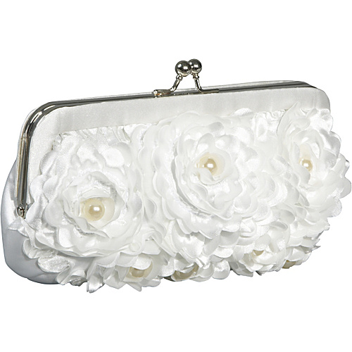 Jessica McClintock Floral With Pearl Center Frame White - Jessica McClintock Evening Bags