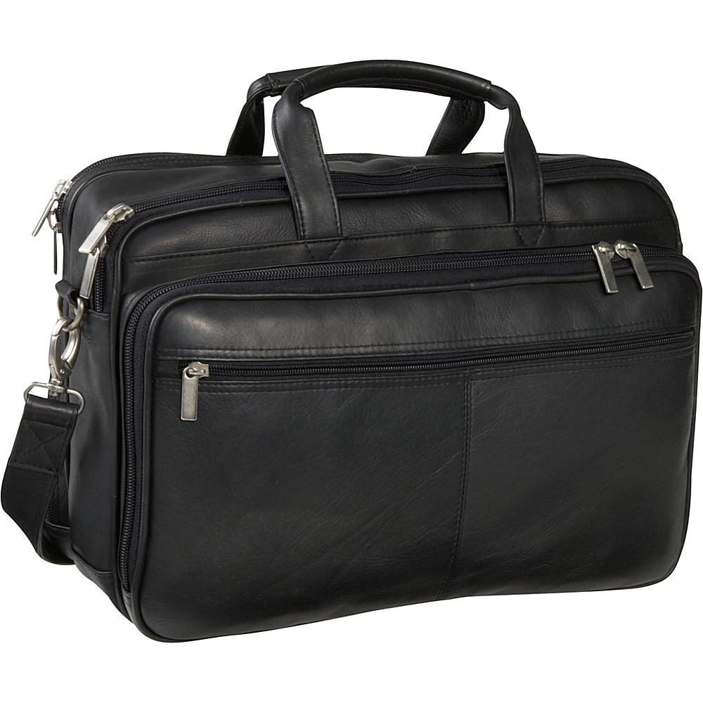 Le Donne Leather Two Compartment Computer Brief - Black - Work Bags & Briefcases, Non-Wheeled Business Cases