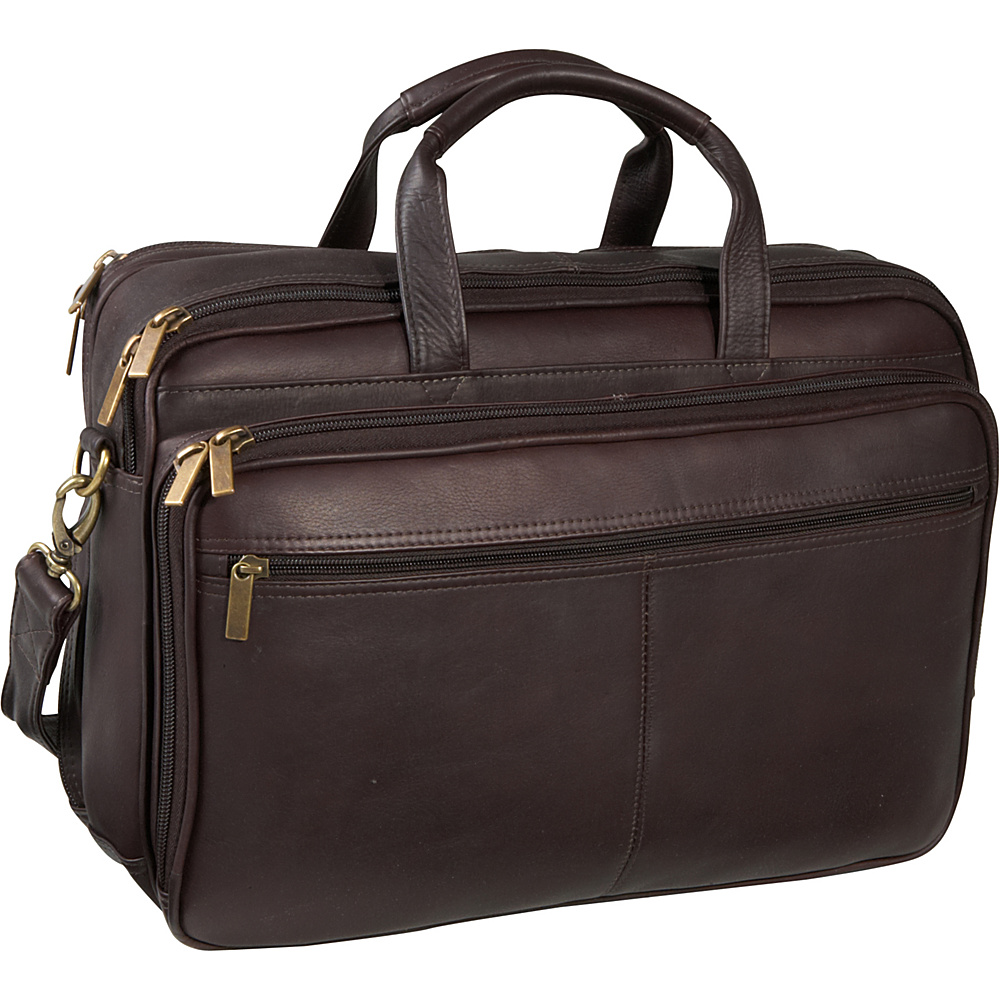 Le Donne Leather Two Compartment Computer Brief - Caf - Work Bags & Briefcases, Non-Wheeled Business Cases