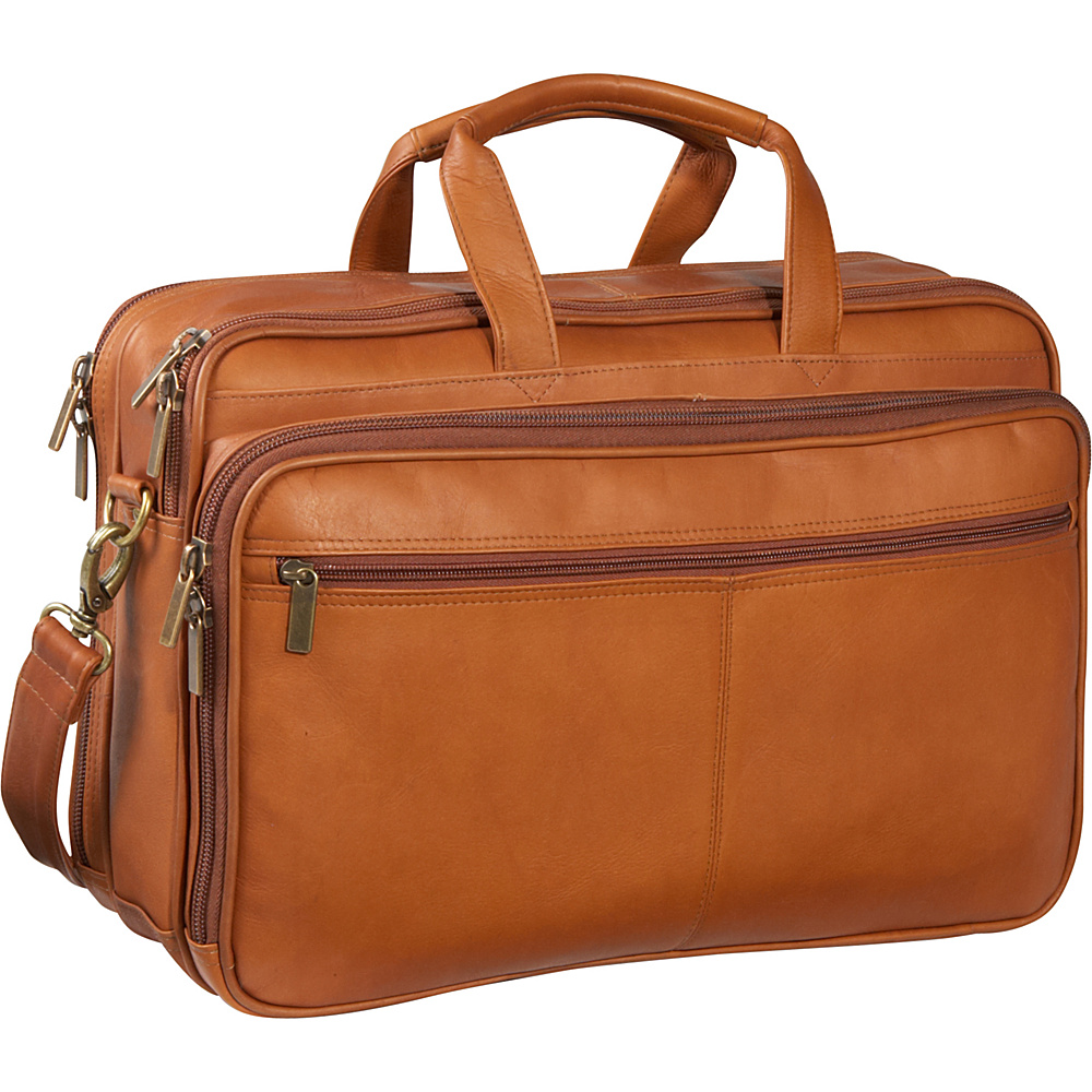 Le Donne Leather Two Compartment Computer Brief - Tan - Work Bags & Briefcases, Non-Wheeled Business Cases