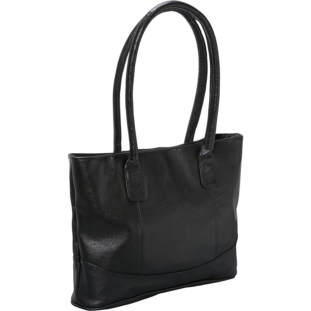AmeriLeather Casual Leather Tote - Black - Handbags, Leather Handbags