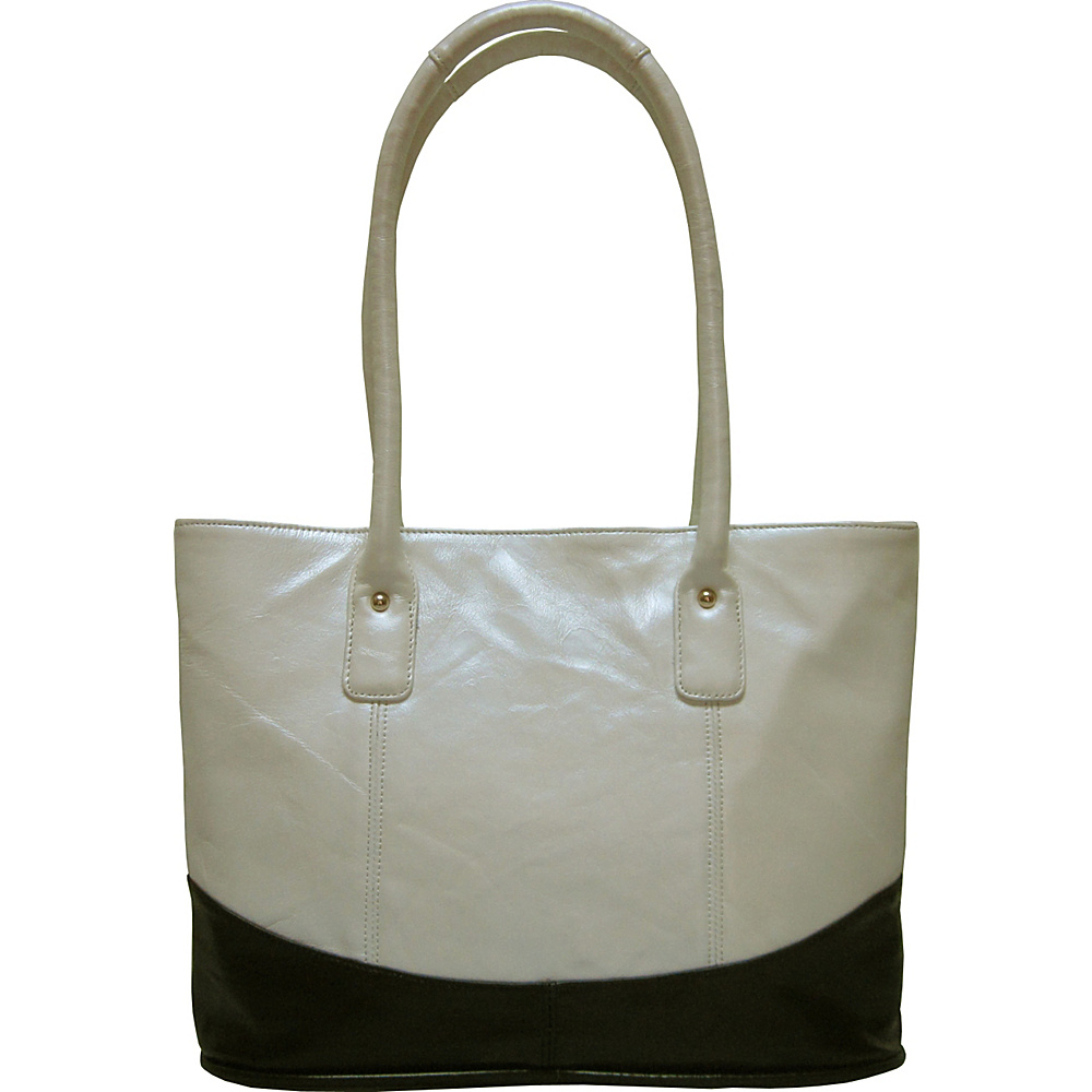 AmeriLeather Casual Leather Tote Snow White/Black - AmeriLeather Leather Handbags - Handbags, Leather Handbags
