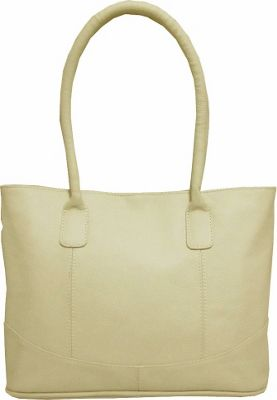 AmeriLeather Casual Leather Tote Off White - AmeriLeather Leather Handbags