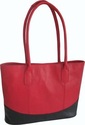 AmeriLeather Casual Leather Tote Red/Black - AmeriLeather Leather Handbags