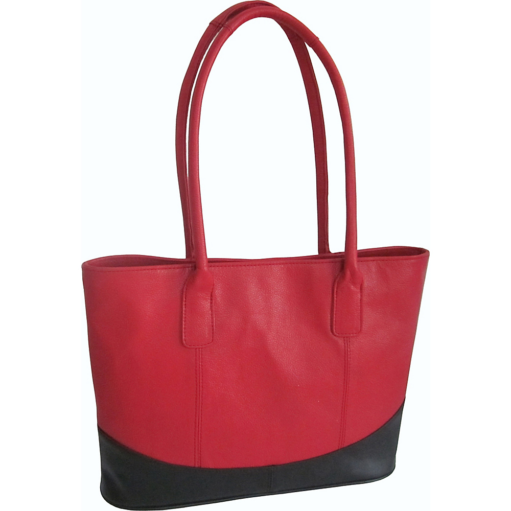 AmeriLeather Casual Leather Tote Red/Black - AmeriLeather Leather Handbags - Handbags, Leather Handbags