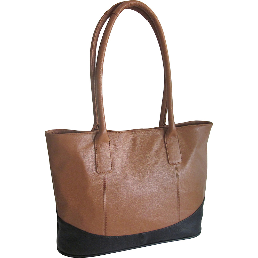 AmeriLeather Casual Leather Tote Brown/Black - AmeriLeather Leather Handbags - Handbags, Leather Handbags