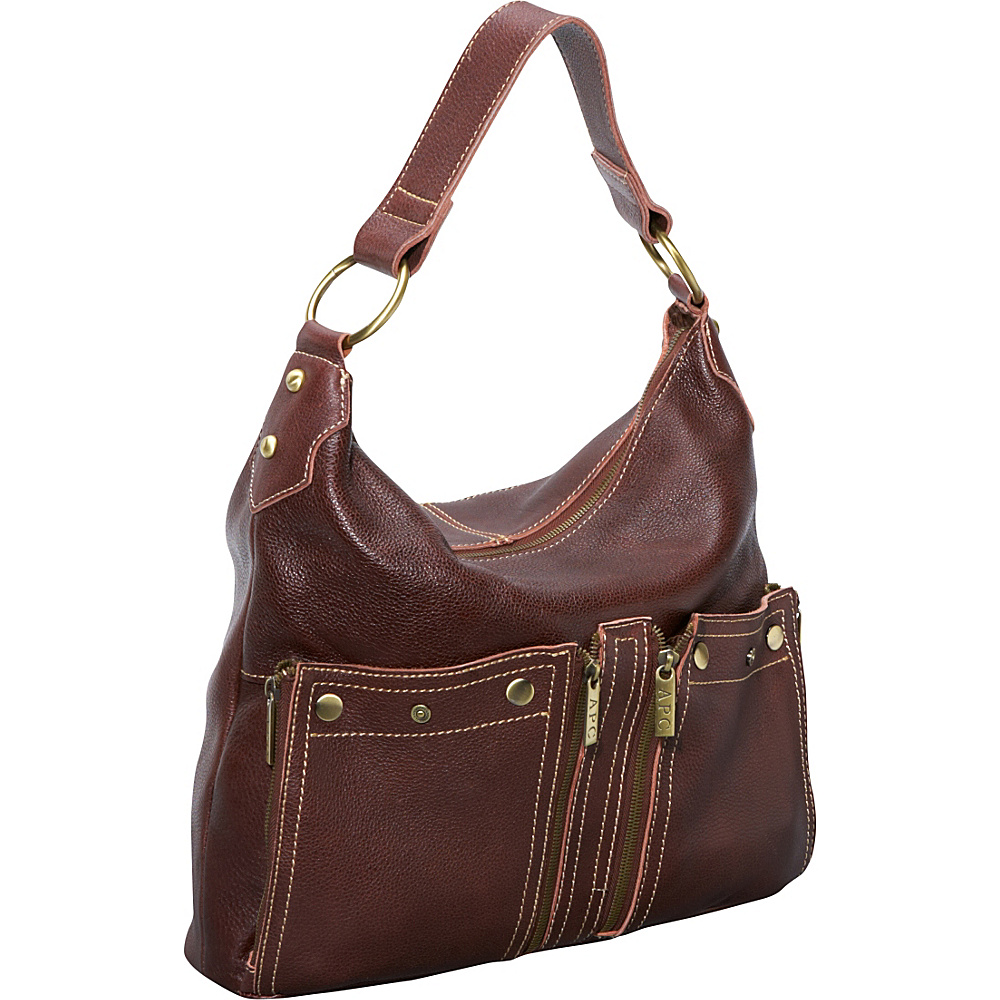 AmeriLeather Caroline Leather Hobo - Chestnut Brown - Handbags, Leather Handbags