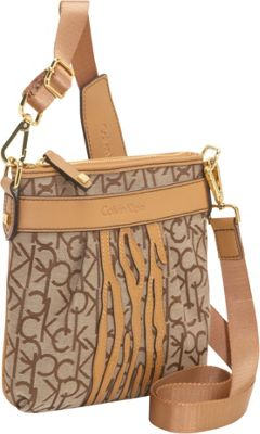 Calvin Klein Hudson CK Jacquard Crossbody w Zebra Khaki Brown Camel Calvin Klein Fabric Handbags