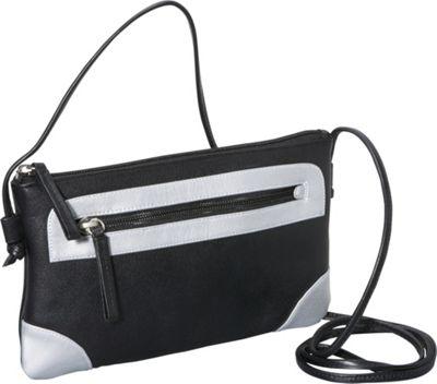 Derek Alexander Small Top Zip Black/Silver - Derek Alexander Leather Handbags
