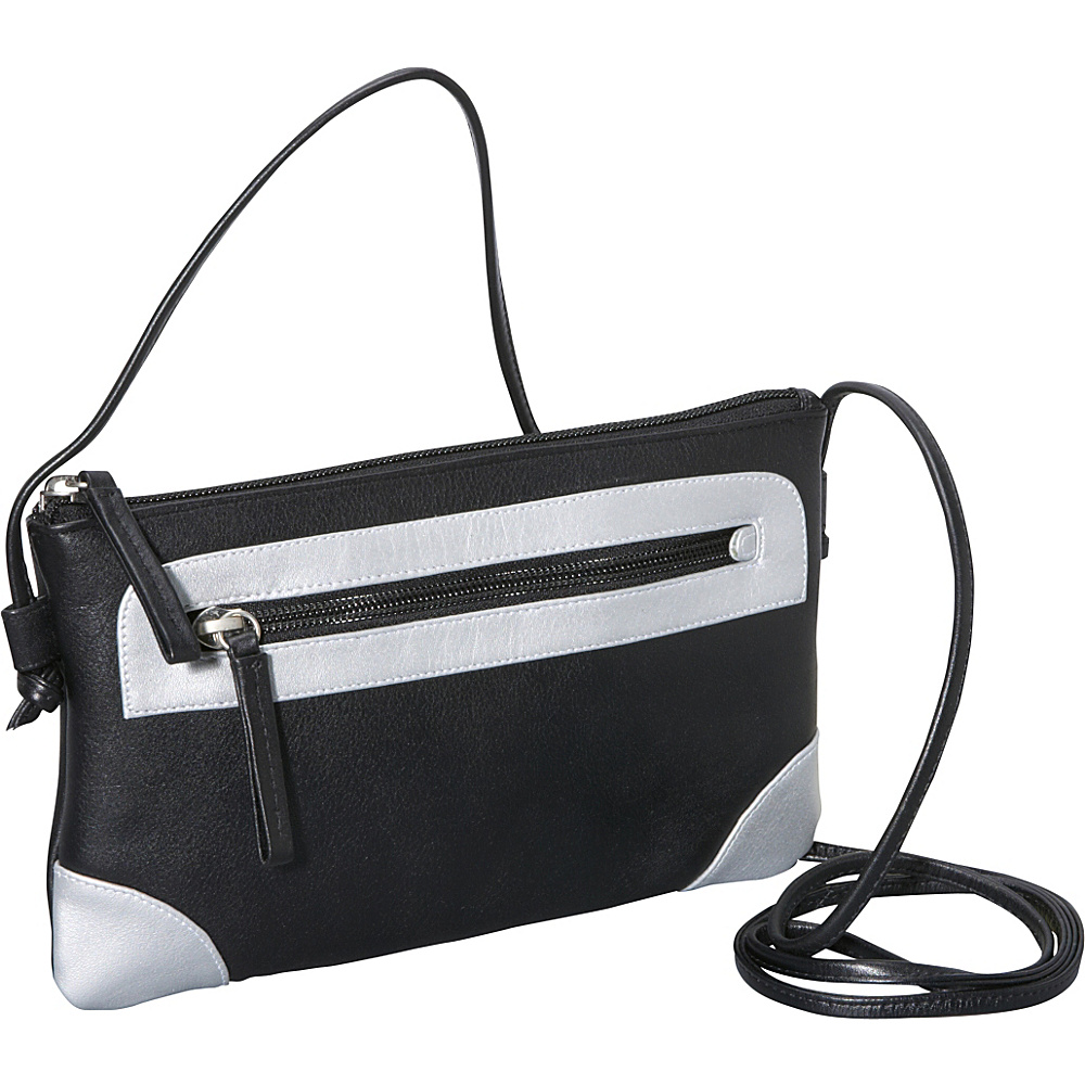 Derek Alexander Small Top Zip Black/Silver - Derek Alexander Leather Handbags - Handbags, Leather Handbags