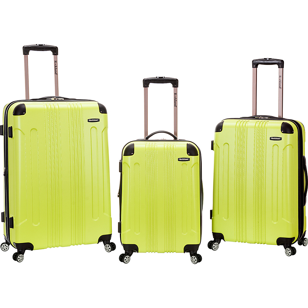 Rockland Luggage Sonic 3 Piece Hardside Spinner Set Lime Rockland Luggage Luggage Sets