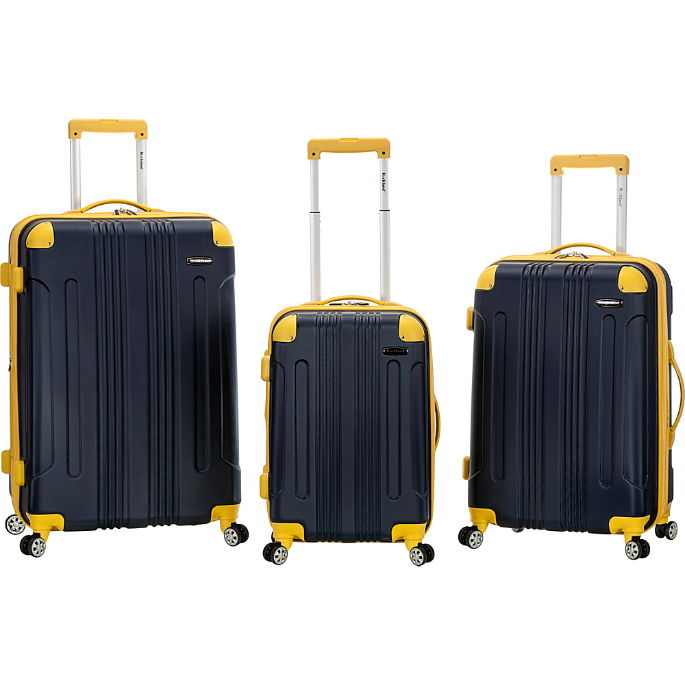Rockland Luggage Sonic 3 Piece Hardside Spinner Set Navy Rockland Luggage Luggage Sets