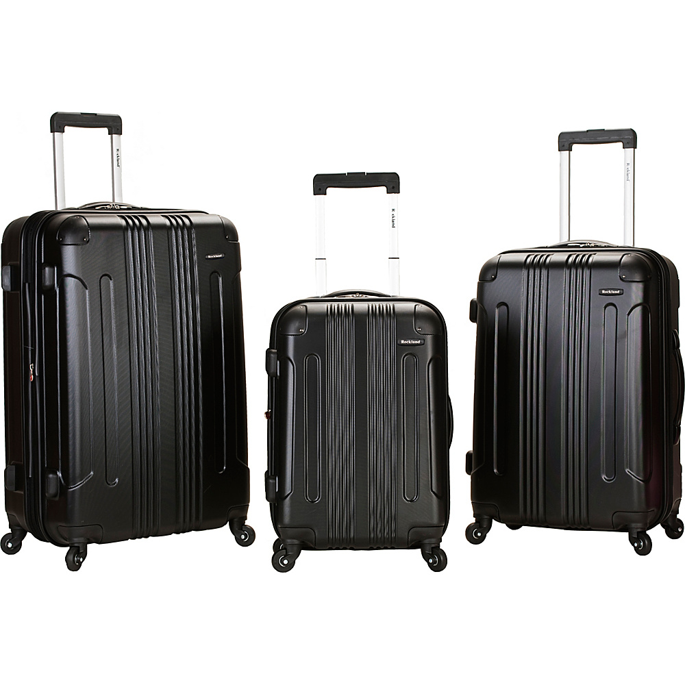 Rockland Luggage London 3-Piece Hardside Spinner Luggage Set Black - Rockland Luggage Luggage Sets