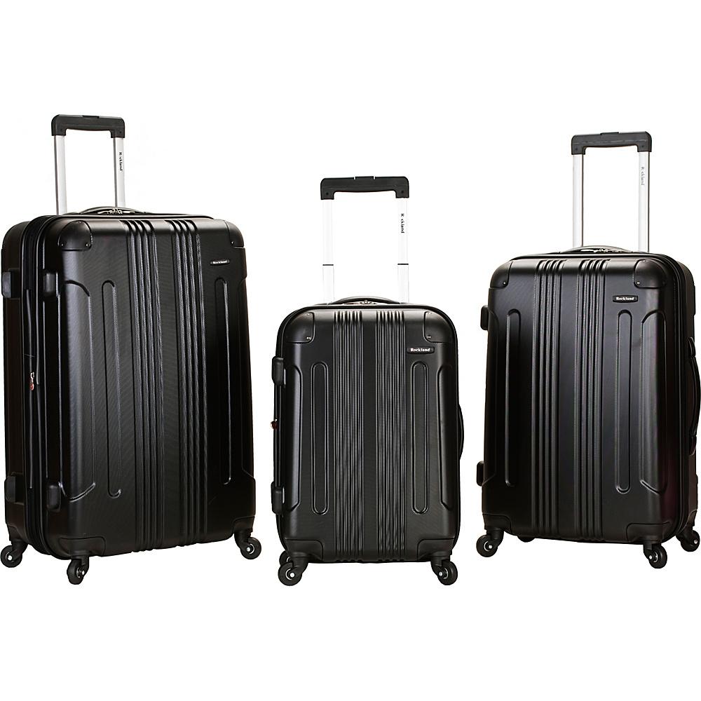 Rockland Luggage London 3-Piece Hardside Spinner Luggage Set Black - Rockland Luggage Luggage Sets