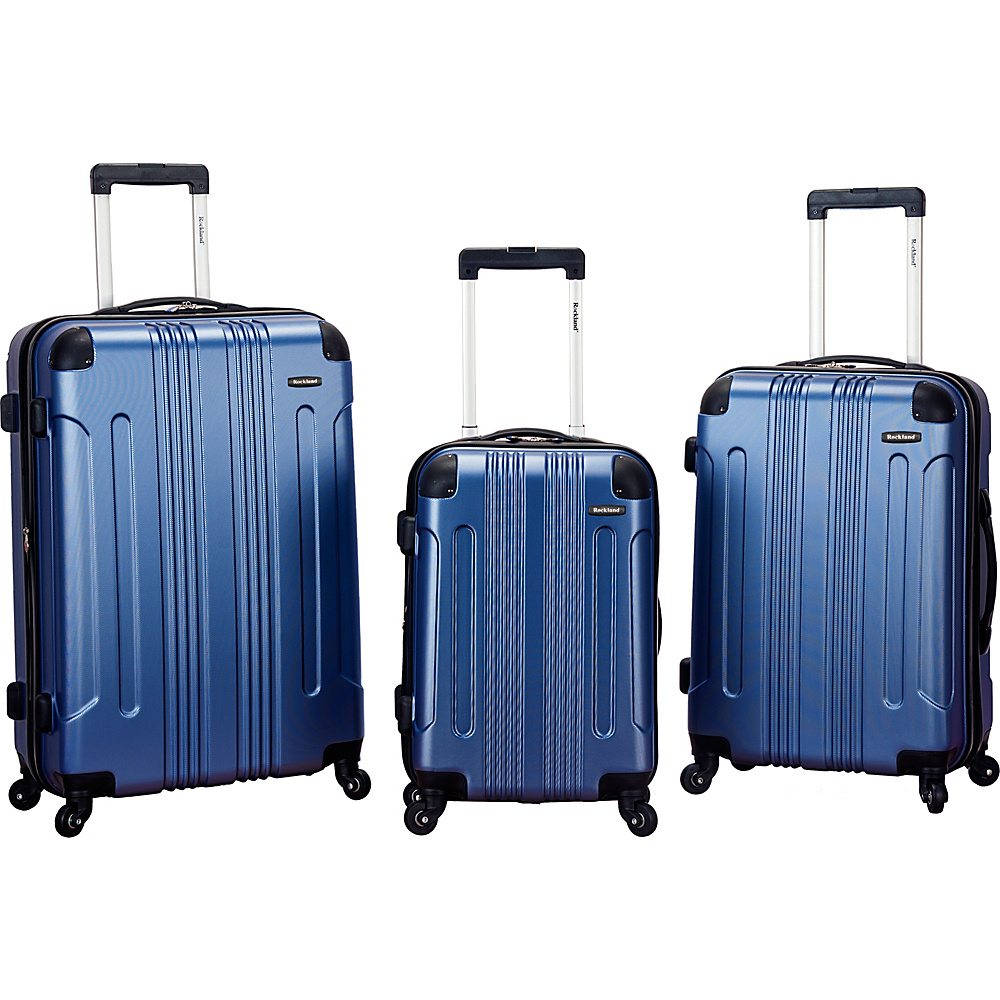 Rockland Luggage London 3-Piece Hardside Spinner Luggage Set Blue - Rockland Luggage Luggage Sets