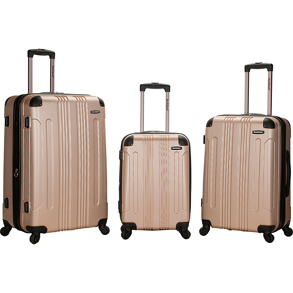 Rockland Luggage London 3-Piece Hardside Spinner Luggage Set Champagne - Rockland Luggage Luggage Sets