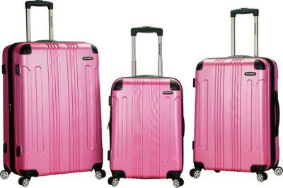Rockland Luggage London 3-Piece Hardside Spinner Luggage Set Pink - Rockland Luggage Luggage Sets