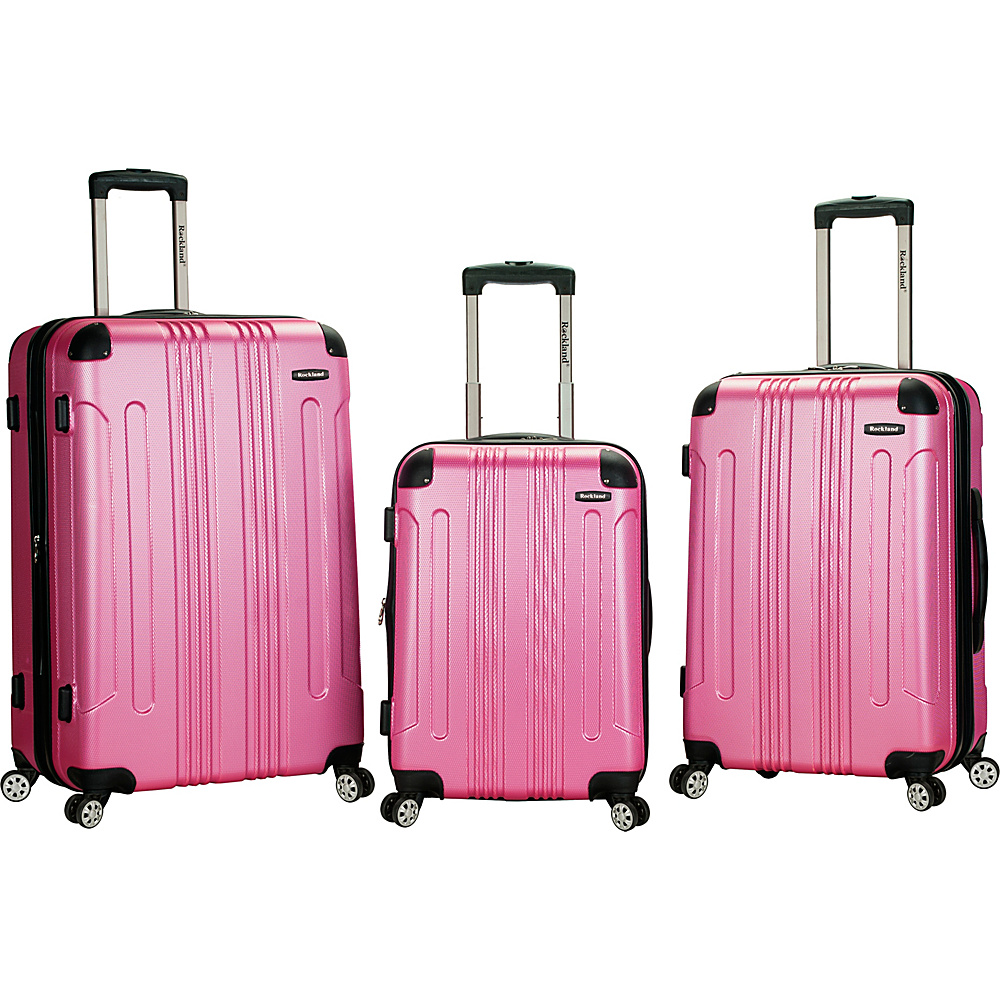 Rockland Luggage London 3-Piece Hardside Spinner Luggage Set Pink - Rockland Luggage Luggage Sets