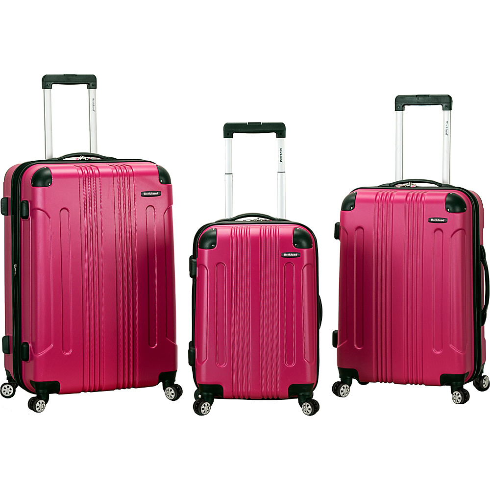 Rockland Luggage London 3-Piece Hardside Spinner Luggage Set Magenta - Rockland Luggage Luggage Sets