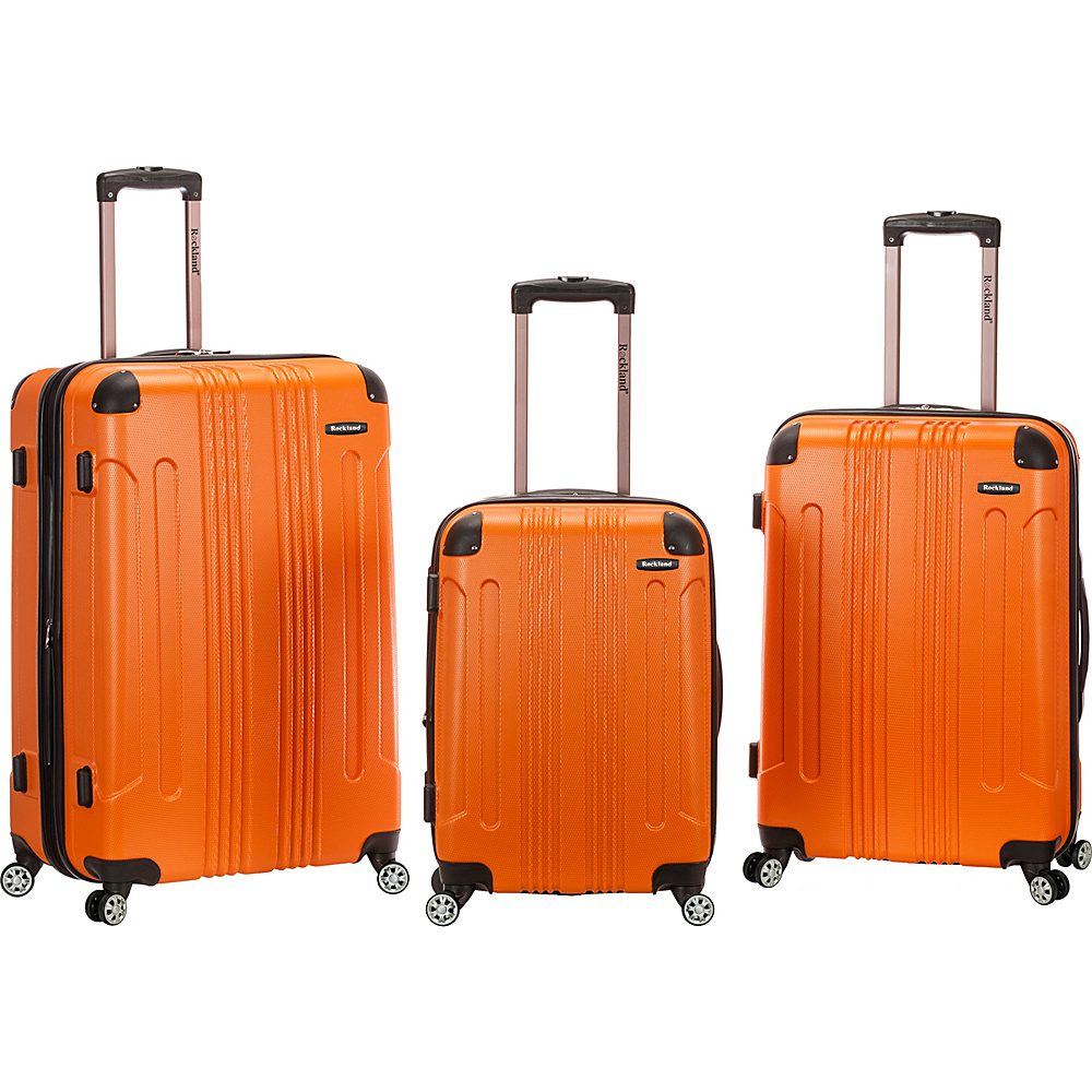 Rockland Luggage Sonic 3 Piece Hardside Spinner Set Orange Rockland Luggage Luggage Sets