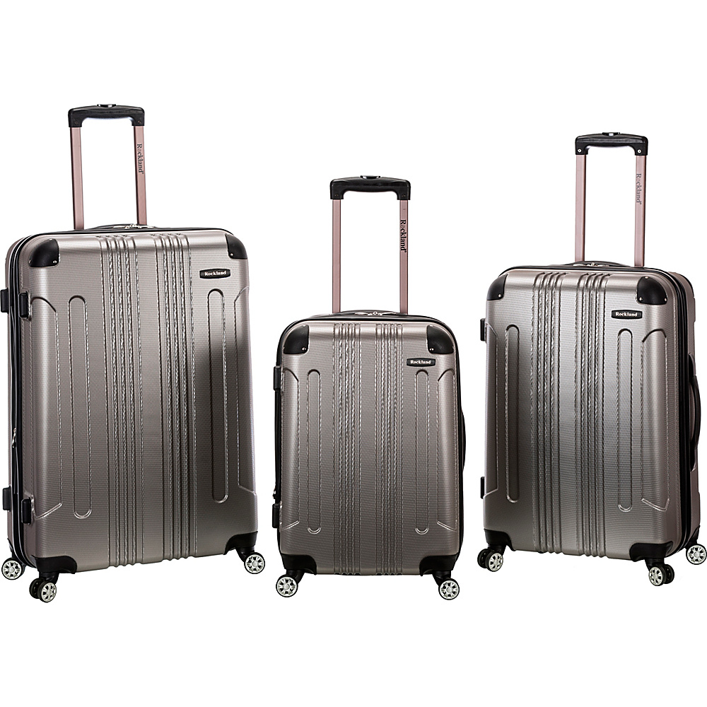 Rockland Luggage Sonic 3 Piece Hardside Spinner Set Silver Rockland Luggage Luggage Sets