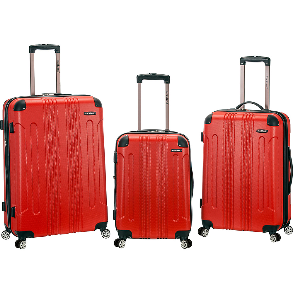 Rockland Luggage Sonic 3 Piece Hardside Spinner Set Red Rockland Luggage Luggage Sets
