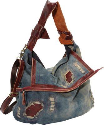 Amerileather 'Damian' Denim And Leather Shoulder Bag 82