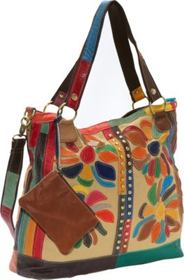 AmeriLeather Rosalie Canvas/Leather Tote Rainbow - AmeriLeather Fabric Handbags