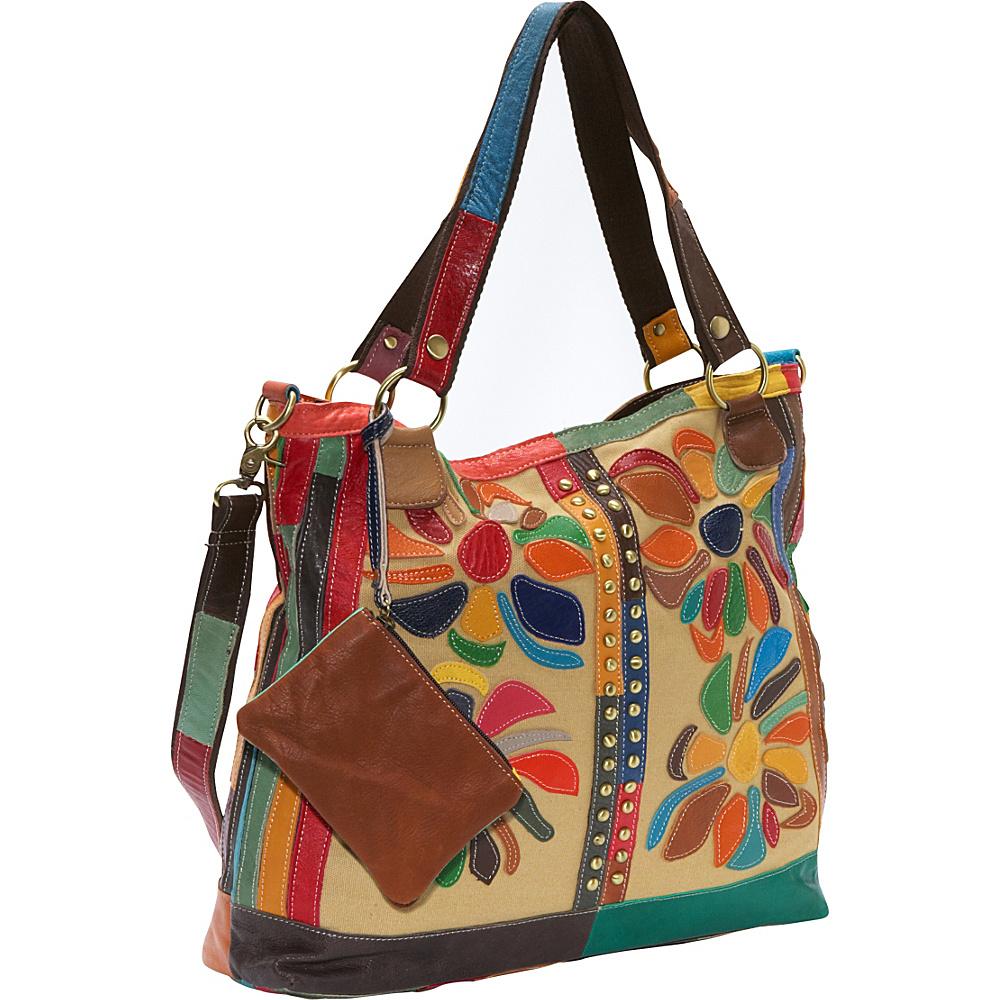 AmeriLeather Rosalie Canvas/Leather Tote Rainbow - AmeriLeather Fabric Handbags - Handbags, Fabric Handbags