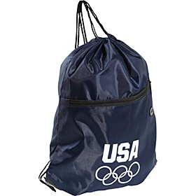 Olympic Games Navy String Bag w/Front Zipper Navy Blue