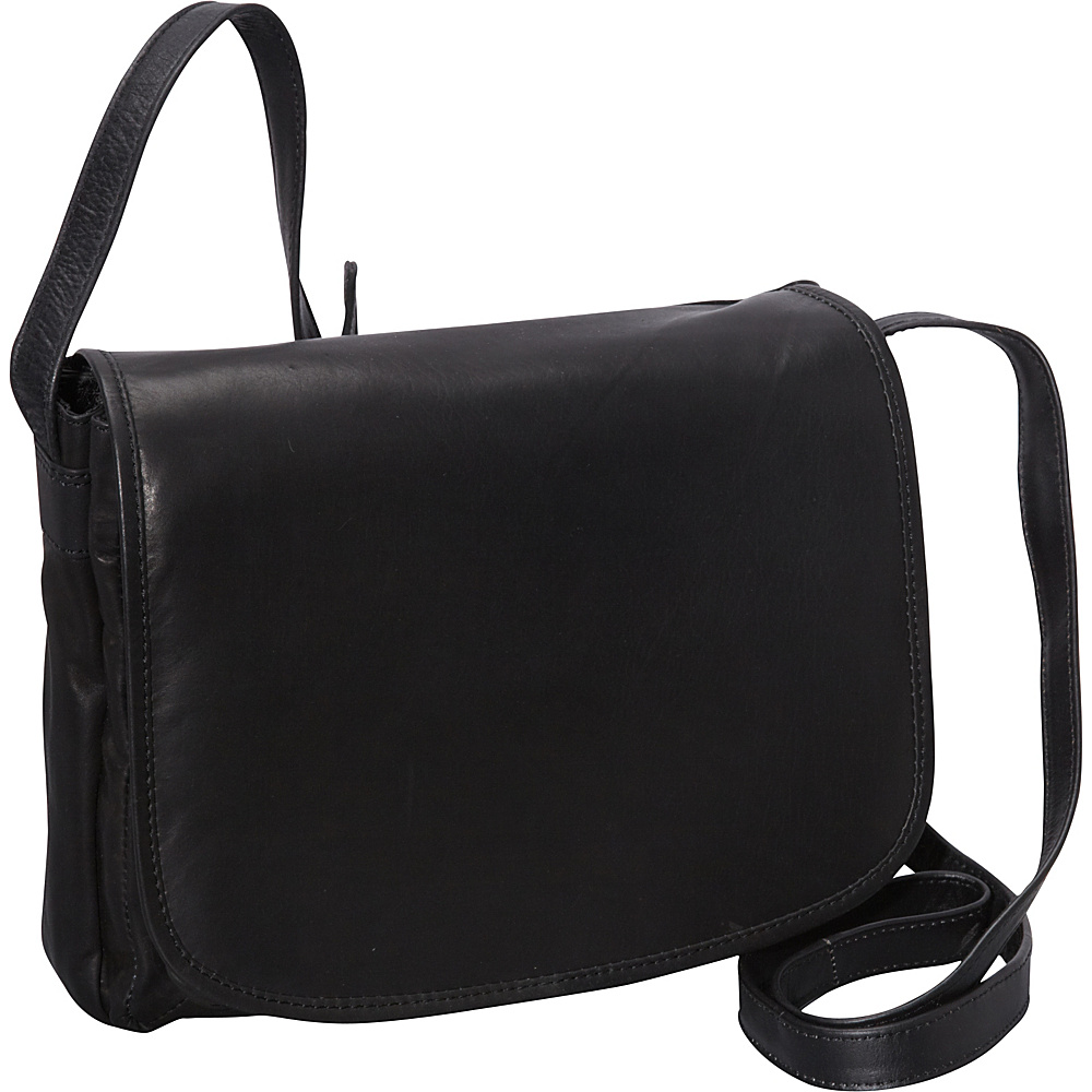 R & R Collections Medium Size Front Flap Organizer Bag Black - R & R Collections Leather Handbags
