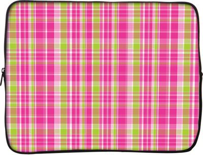 Designer Sleeves 13 inch Laptop Sleeve by Got Skins? & Designer Sleeves Pink & Green Plaid - Designer Sleeves Electronic Cases
