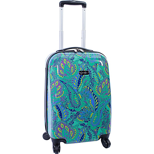 "Jessica Simpson Luggage Paisley 20"" Twister Hardside Green - Jessica Simpson Luggage Small Rolling Luggage"