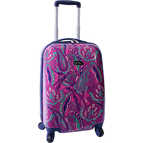 "Jessica Simpson Luggage Paisley 20"" Twister Hardside Magenta - Jessica Simpson Luggage Small Rolling Luggage"