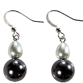 Tonal Grey Baroque Pearl Double Drop Earrings Grey