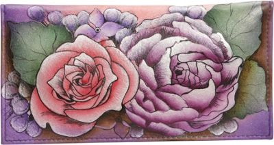 Image of Anuschka Check-book Cover - Flying Jewels Lush Lilac - Anuschka Designer Handbags