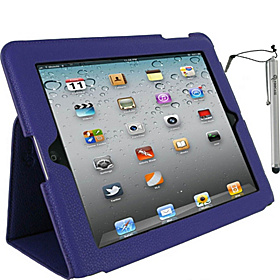 Ultra-Slim Vegan Leather Case w/ Stylus for iPad Gens 2, 3 & 4 Purple