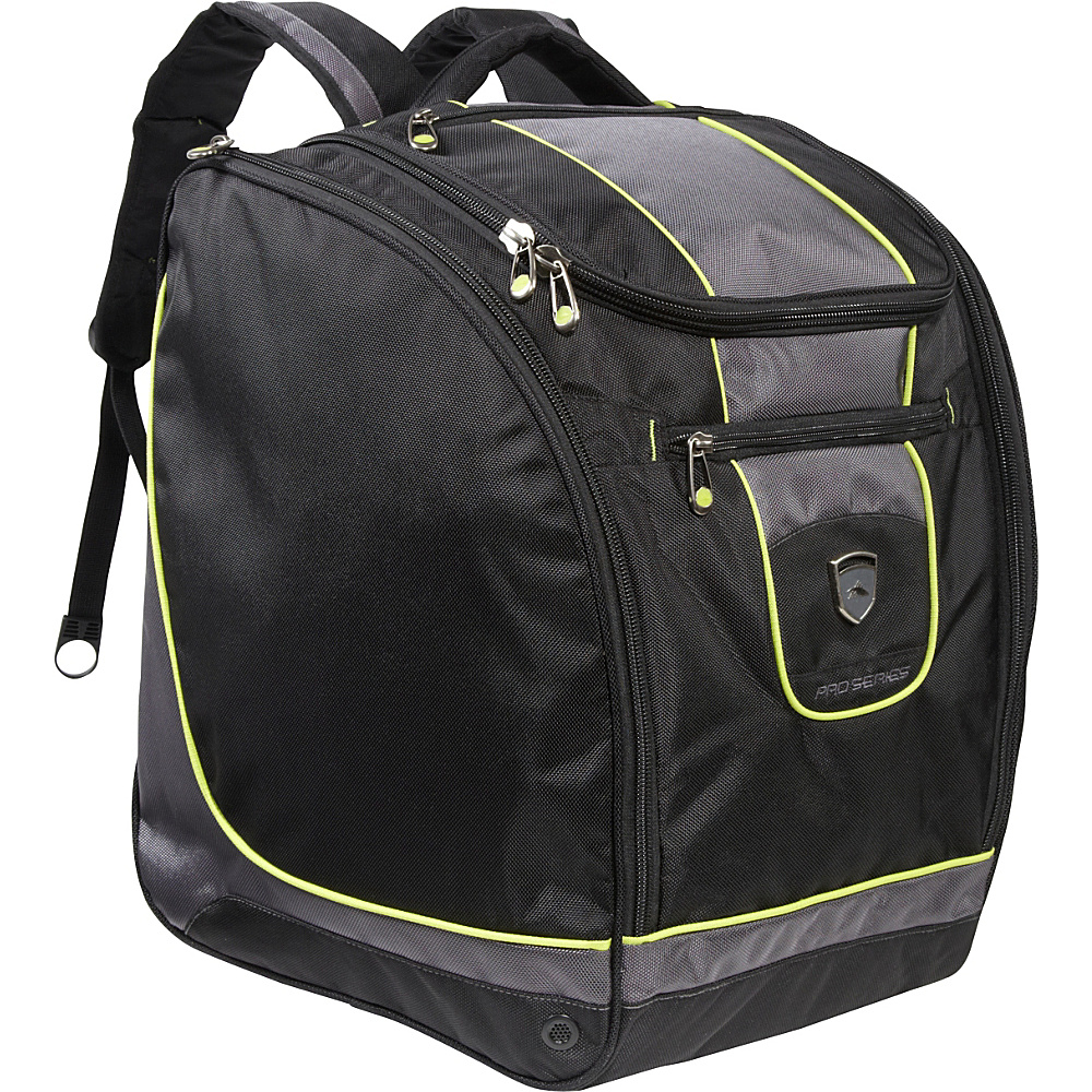 High Sierra Deluxe Trapezoid Boot Bag Black,  Charcoal,  Chartreuse - High Sierra Ski and Snowboard Bags