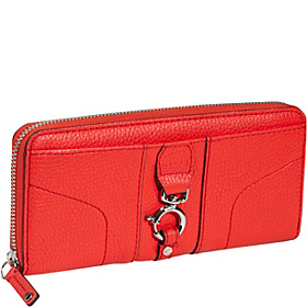 Felicity Pebble Zip Around Wallet Vermillion